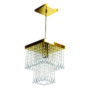 Kit 4 Lustre Pendente De Cristal Acrílico Marrycriic Dourado