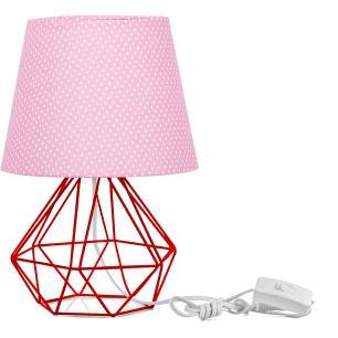 Abajur Diamante Dome Rosa/bolinha Com Aramado Vermelho