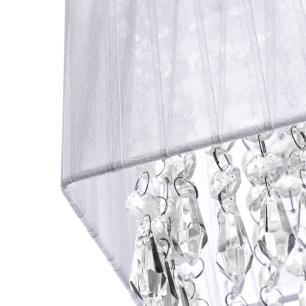 Lustre Pendente de Cupula Quadrado ClearFio Cristal Acrílico Prata