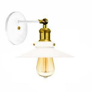 Arandela Industrial Vintage Retro Nordic Branco com Dourado