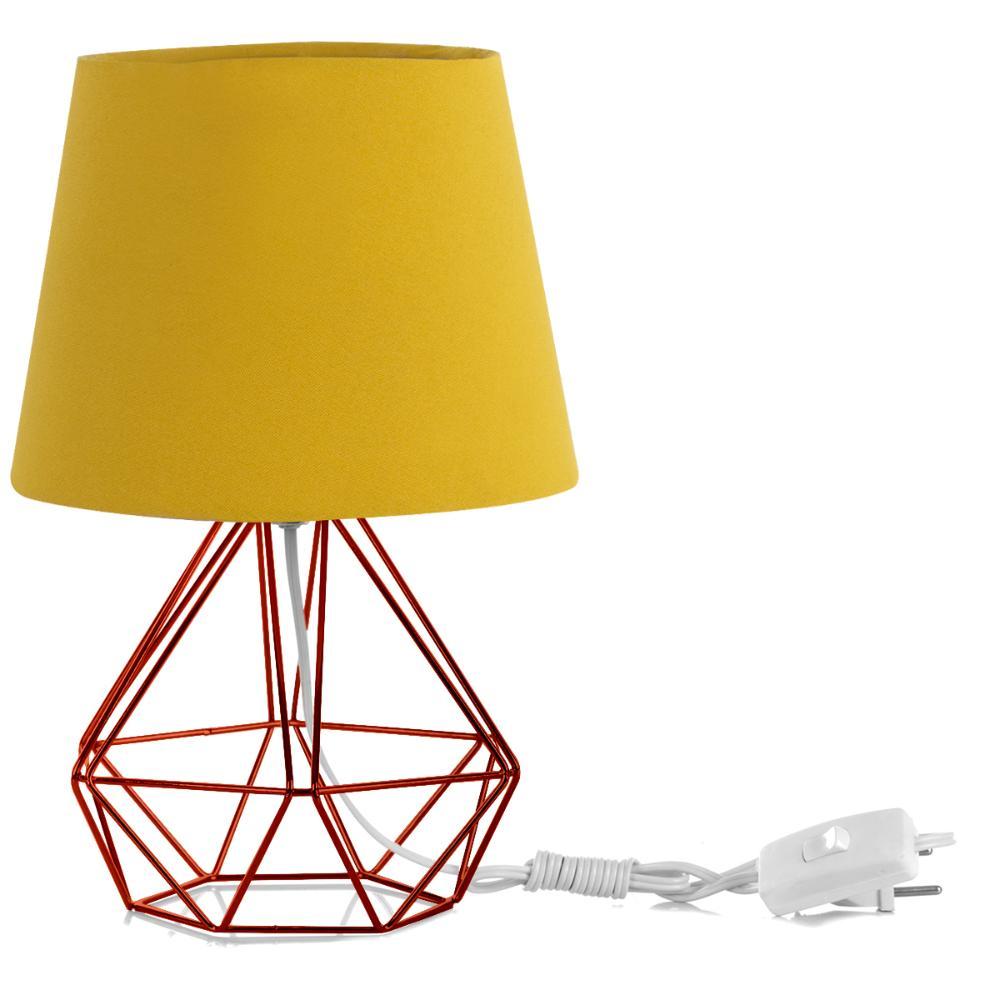 Abajur Diamante Dome Amarelo Mostarda Com Aramado Cobre