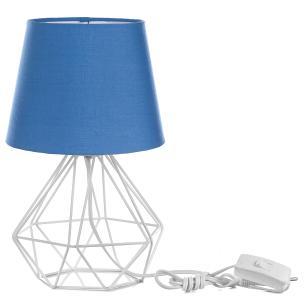 Abajur Diamante Dome Azul Com Aramado Branco