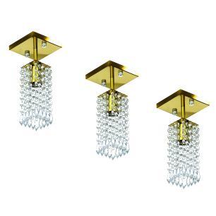 Kit 3 Lustre Clearcrillic Cristal Acrílico Quadrado Dourado
