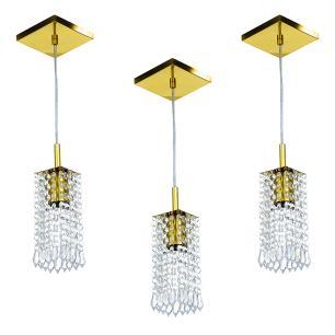 Kit 3 Lustre Pendente Clearcrillic Cristal Acrílico Dourado