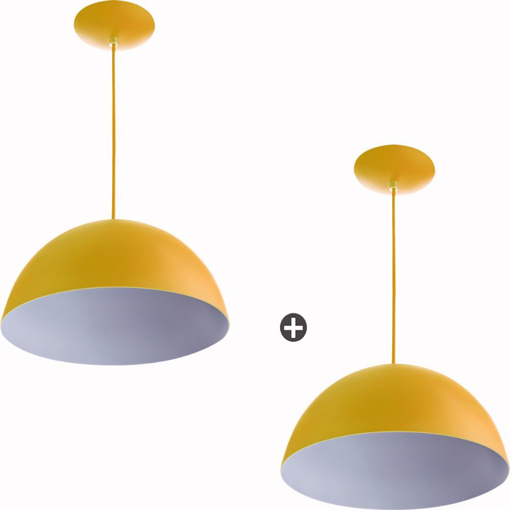 Kit 2 Lustres Pendente Meia Lua 40cm Alumínio Amarelo
