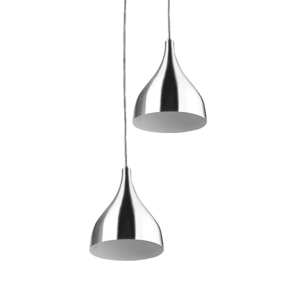 Lustre Pendente Aluminio Gota Duplo 21cm Escovado
