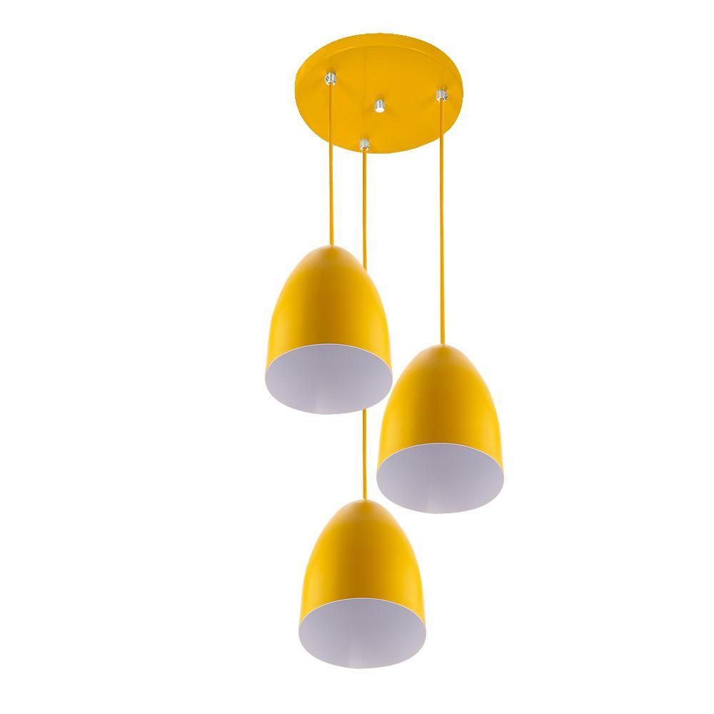 Pendente Cone Bala Sadan Aluminio Triplo Amarelo