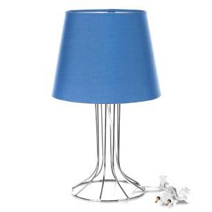 Abajur Torre Dome Azul Com Aramado Cromado