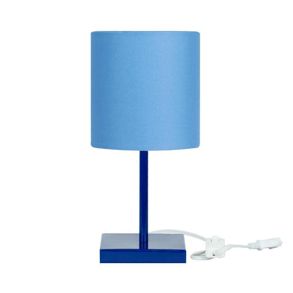 Abajur Eros Cilindrico Azul Base Toda Azul Quadrada