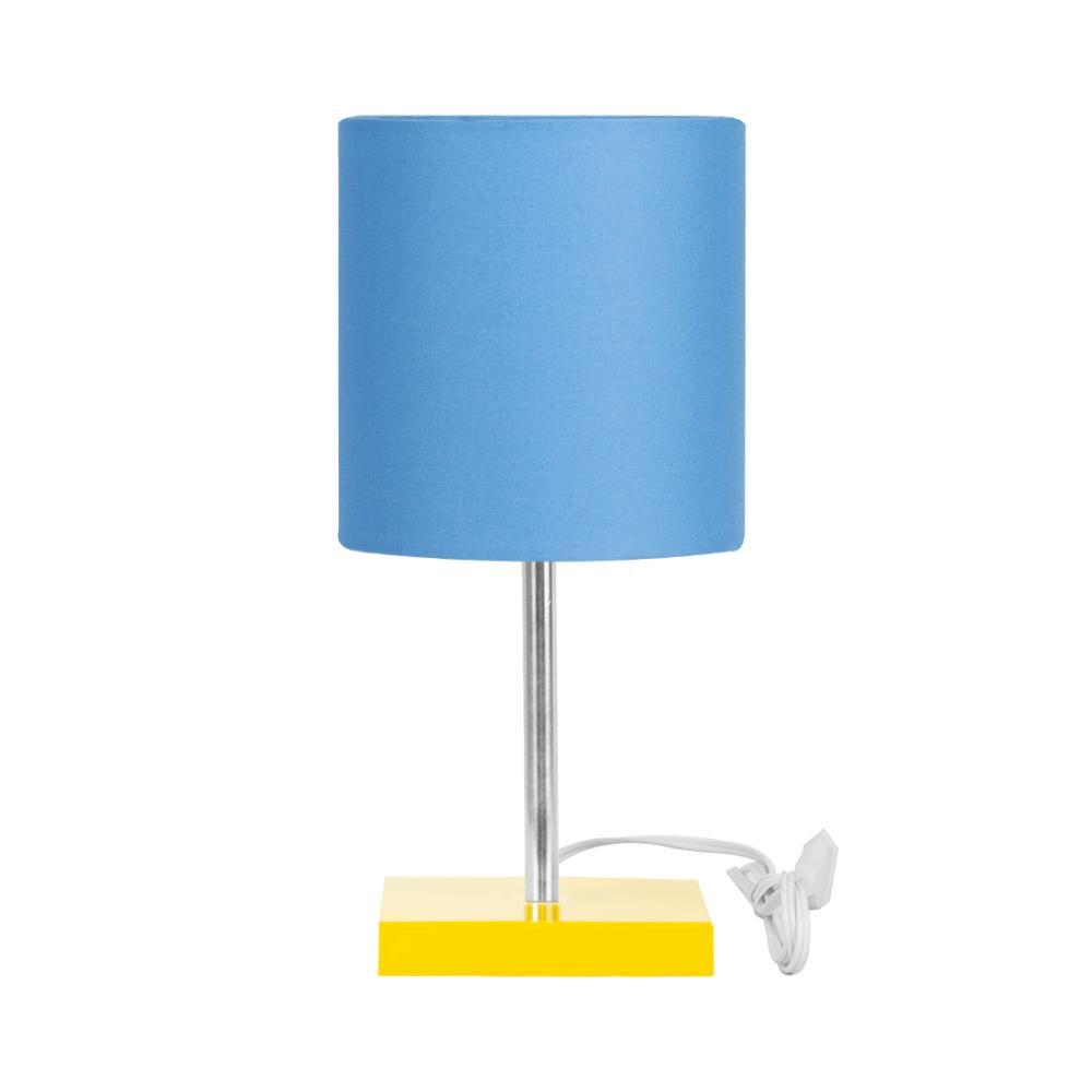 Abajur Eros Touch Cilindrico Azul Base Amarela Quadrada