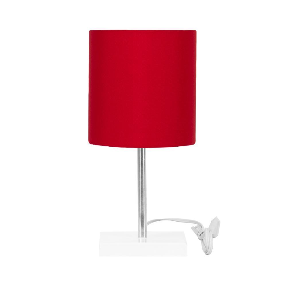 Abajur Eros Touch Cilindrico Vermelho Base Branca Quadrada