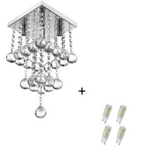 Lustre Pendente De Cristal Legitimo Classic Square Long 20 com Lâmpadas 3000K (Branco Quente)