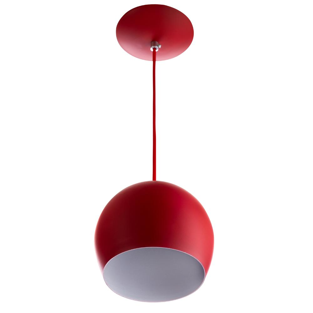 Lustre Pendente Bola Pequena De Alumínio 15cm Vermelho