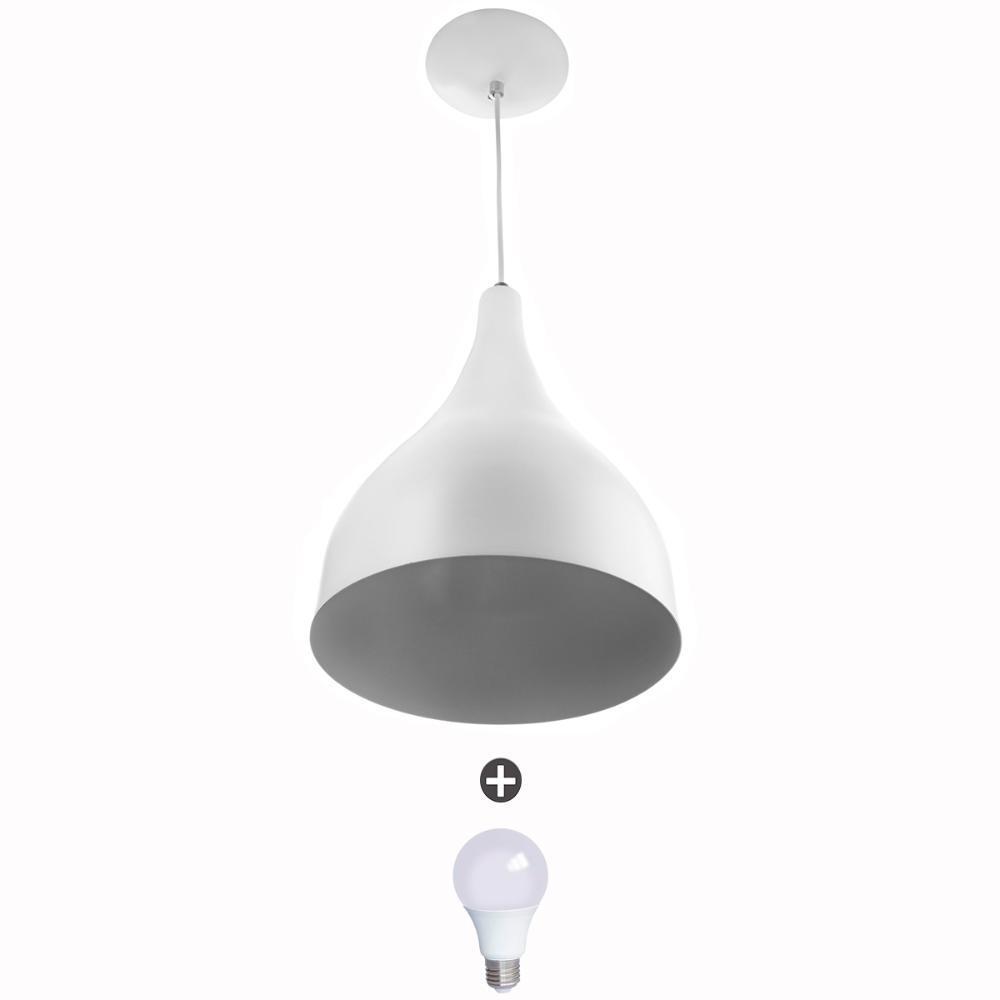 Lustre Pendente Gota Media Alumínio 30cm Branco + Lampadas
