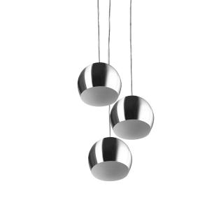 Lustre Pendente Aluminio Bola Triplo 15cm Escovado