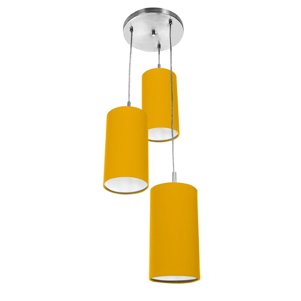 Pendente Cilindrica Triplo De Cupula 14x25cm Amarelo