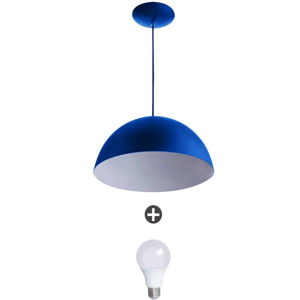 Pendente Meia Lua 40 Alumínio Azul Com Lampada