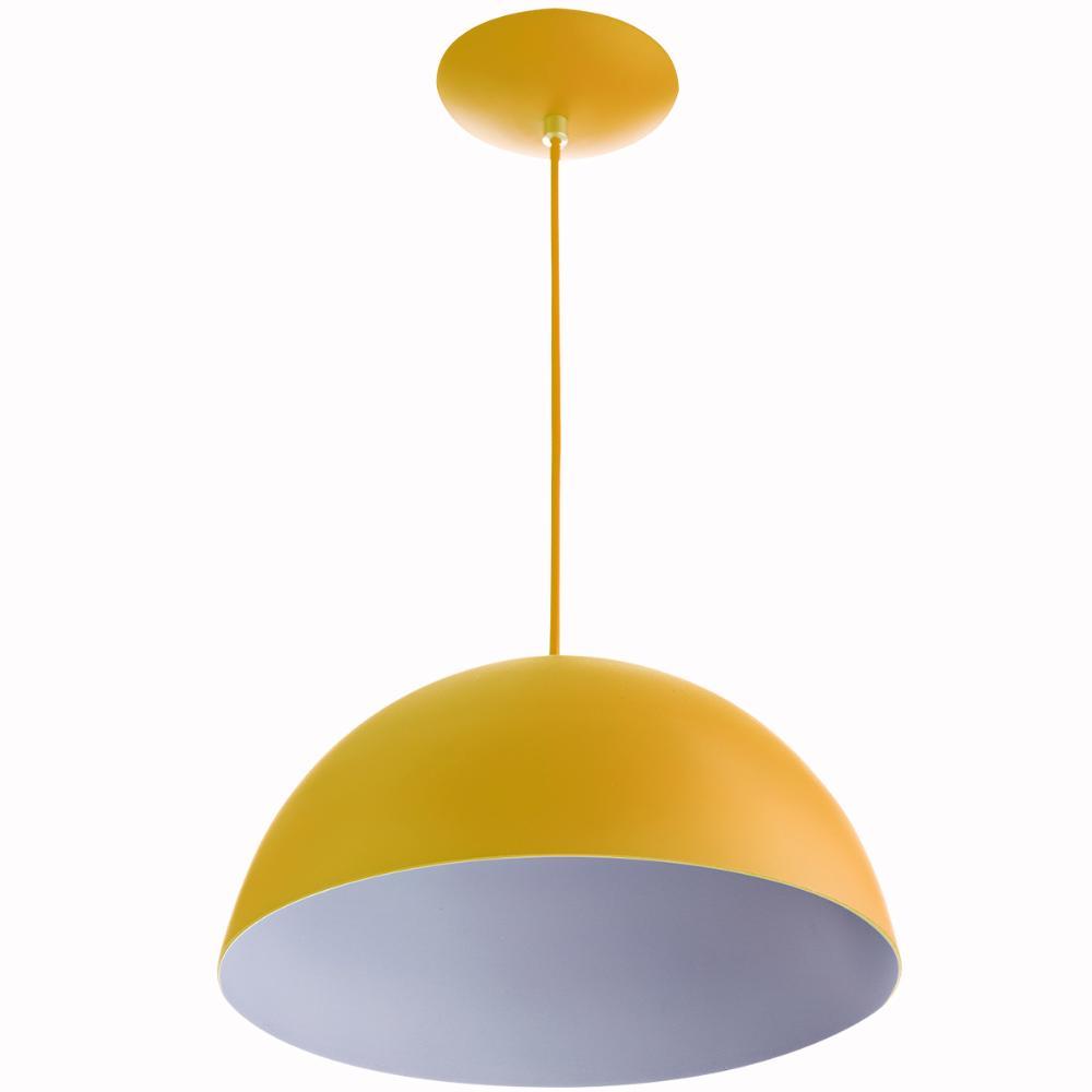 Lustre Pendente Meia Lua 40cm De Alumínio Amarelo