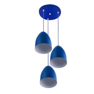 Pendente Cone Bala Sadan Aluminio Triplo Azul