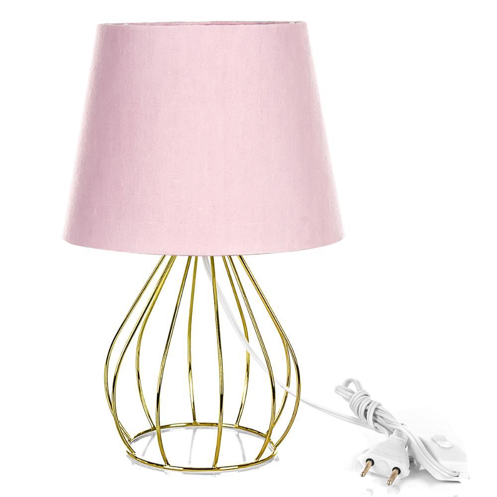 Abajur Cebola Dome Rosa Com Aramado Dourado