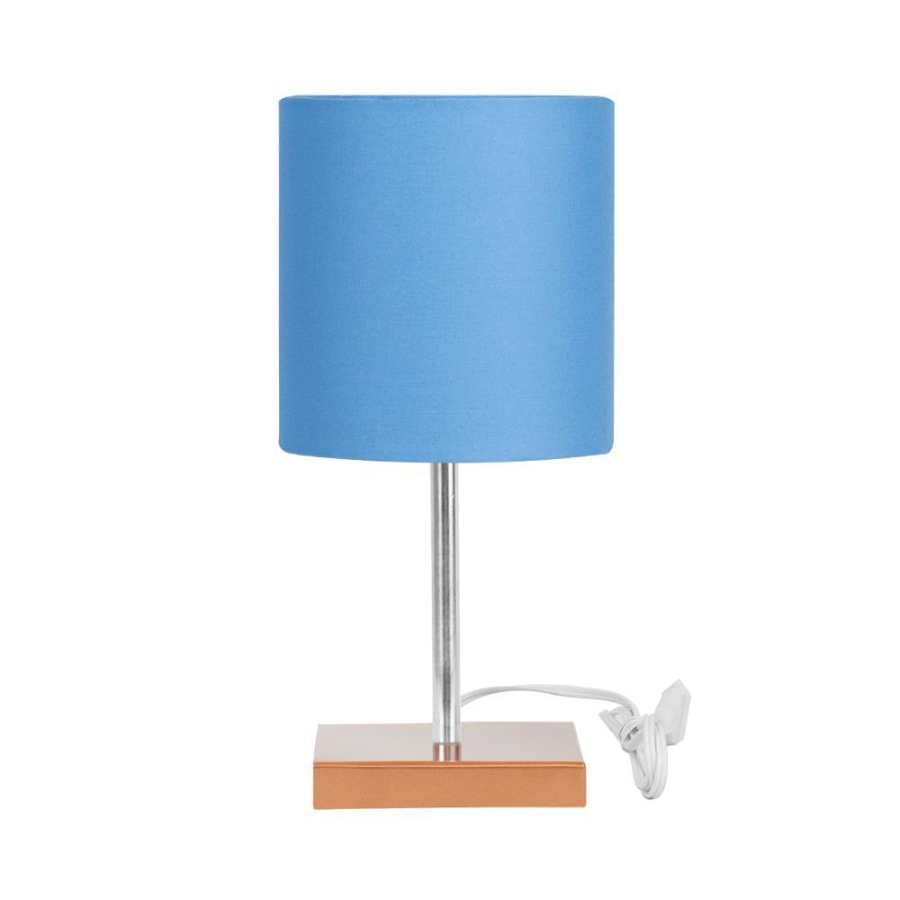 Abajur Eros Touch Cilindrico Azul Base Cobre Quadrada