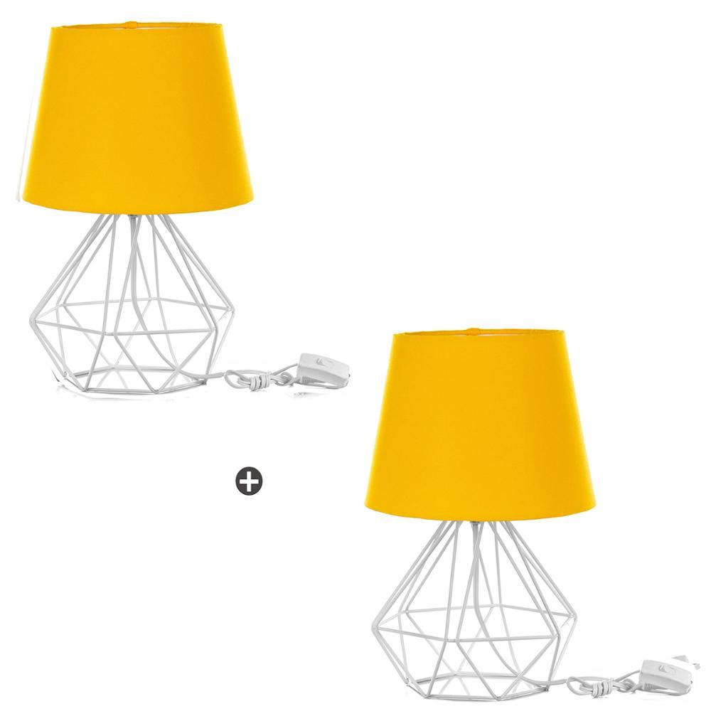 Kit 2 Abajur Diamante Dome Amarelo Com Aramado Branco