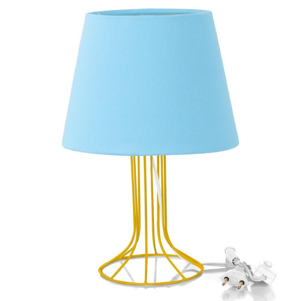 Abajur Torre Dome Azul Bebe com Aramado Amarelo