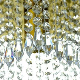 Lustre De Cristal Acrilico Manucrillic Dourado Maravilhoso