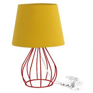 Abajur Cebola Dome Amarelo Mostarda Com Aramado Vermelho