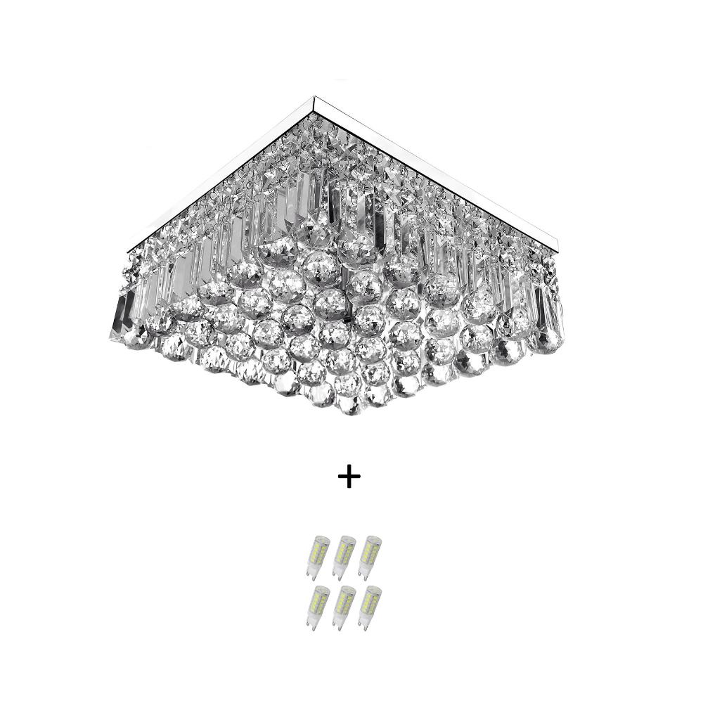 Lustre De Cristal Legitimo Wonderwall 40x40 com Lâmpadas 3000K (Branco Quente)