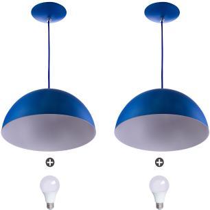 2 Lustres Pendente Meia Lua 30cm Alumínio Azul + Lampada