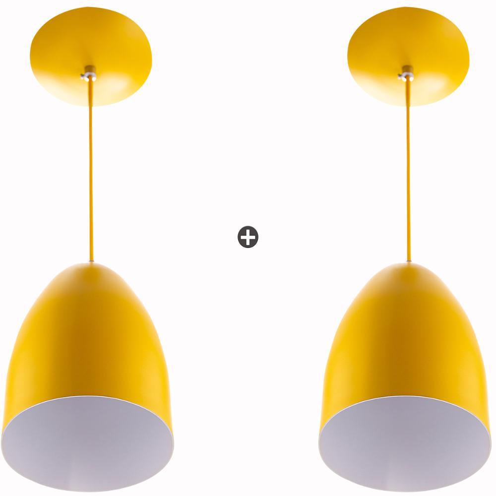 Kit 2 Lustre Pendente Cone De Alumínio 20x14cm Amarelo