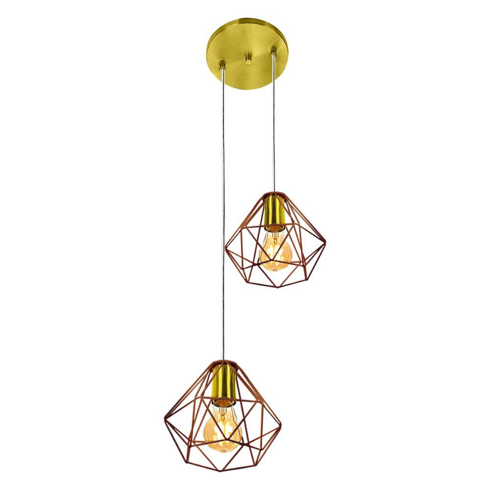 Pendente Diamante Aramado Duplo Cobre com Dourado Esplêndido