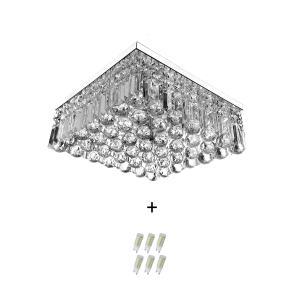 Lustre De Cristal Legitimo Wonderwall 40x40 com Lâmpadas 6000K (Branca Fria)