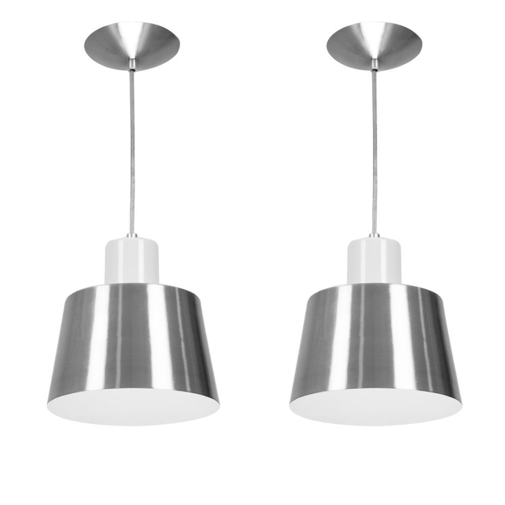 Kit 2 Lustres Pendentes Florença De Alumínio Escovado