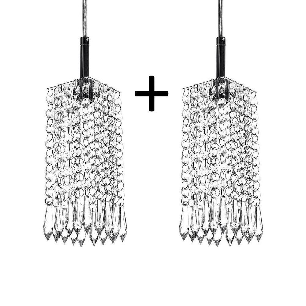 Kit 2 Lustres Pendente De Cristal Acrilico Clearcrillic