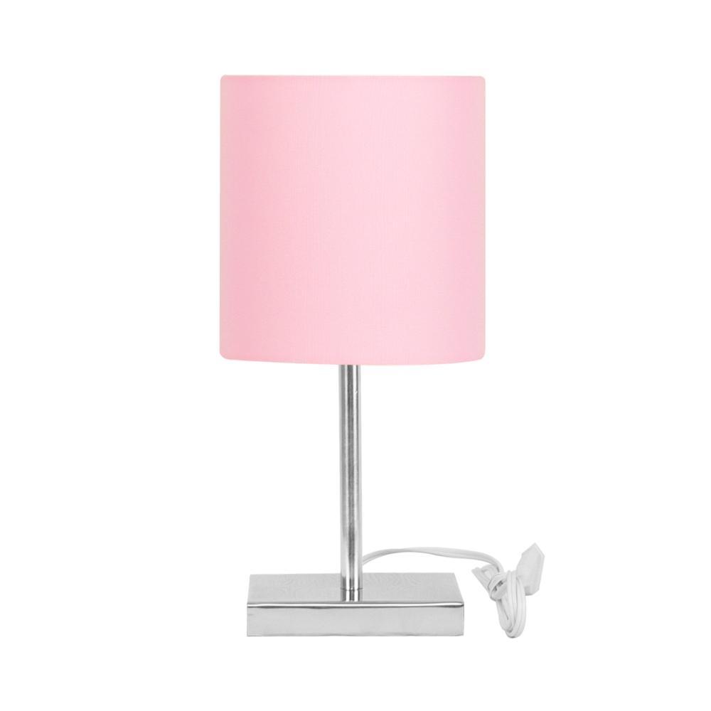 Abajur Eros Touch Cilindrico Rosa Com Base Quadrada De Inox