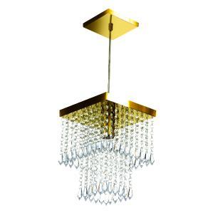 Kit 3 Lustre Pendente De Cristal Acrílico Marrycriic Dourado