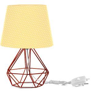 Abajur Diamante Dome Amarelo/bolinha Com Aramado Cobre