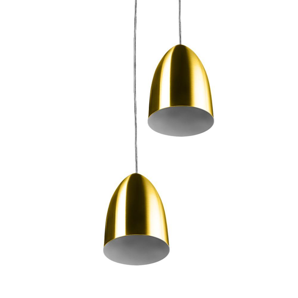 Pendente Cone Bala Sadan Aluminio Duplo Dourado