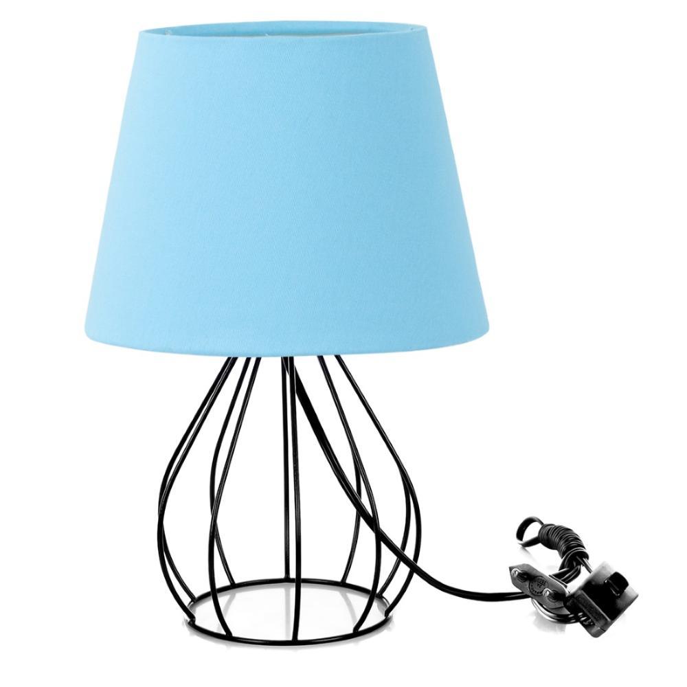Abajur Cebola Dome Azul Bebe Com Aramado Preto