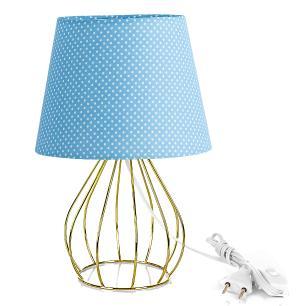 Abajur Cebola Dome Azul/bolinha Com Aramado Dourado