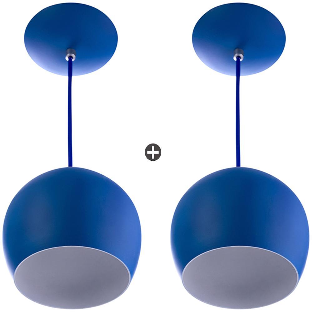 Kit 2 Lustres Pendente Bola Pequena Alumínio 15cm Azul
