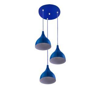 Lustre Pendente Aluminio Gota Triplo 21cm Azul
