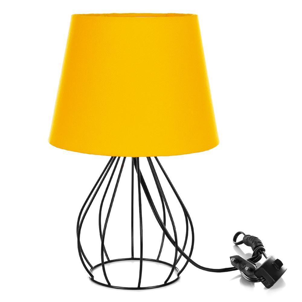 Abajur Cebola Dome Amarelo Com Aramado Preto