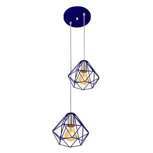 Pendente Diamante Aramado Duplo Azul com Prata Fabuloso
