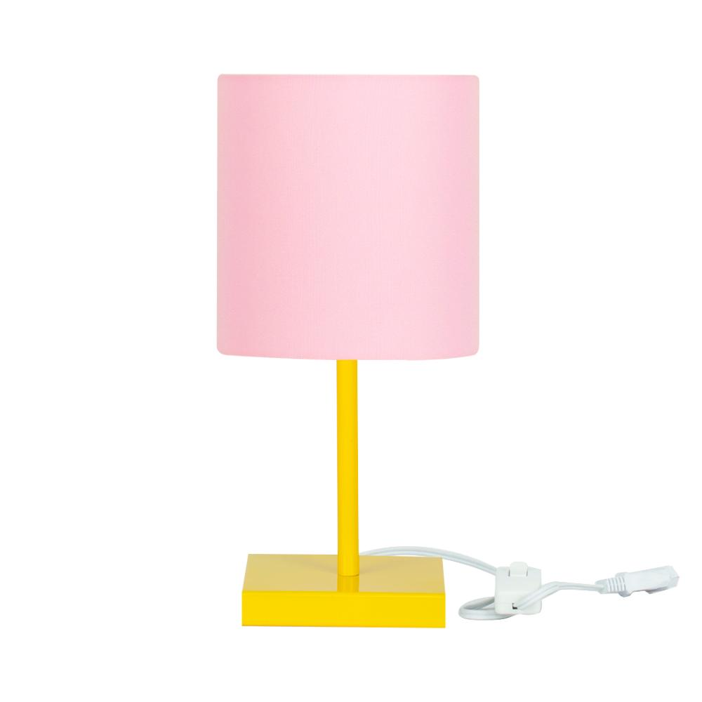 Abajur Eros Cilindrico Rosa Base Toda Amarela Quadrada