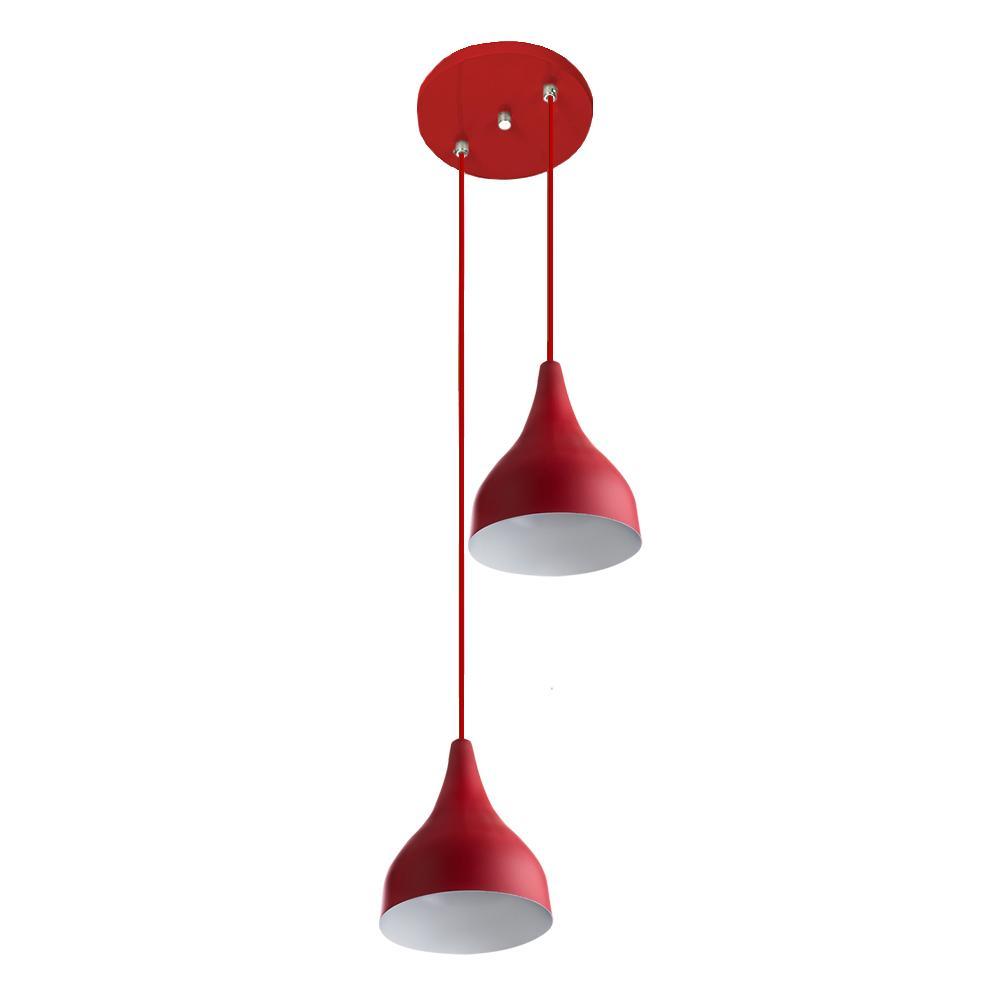 Lustre Pendente Aluminio Gota Duplo 21cm Vermelho