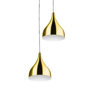 Lustre Pendente Aluminio Gota Duplo 21cm Dourado