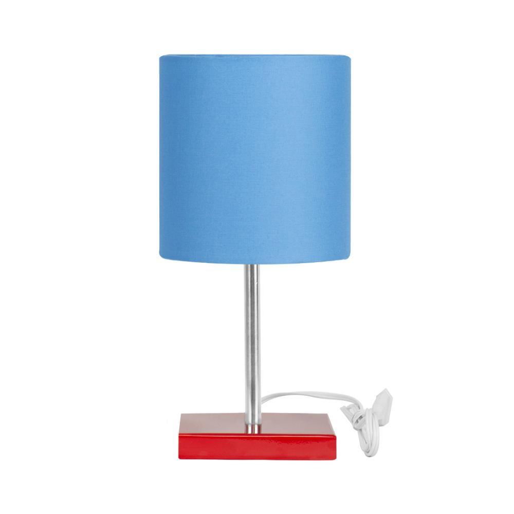 Abajur Eros Touch Cilindrico Azul Base Todo Vermelho Q.